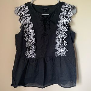 Black tank with lace sleeves
